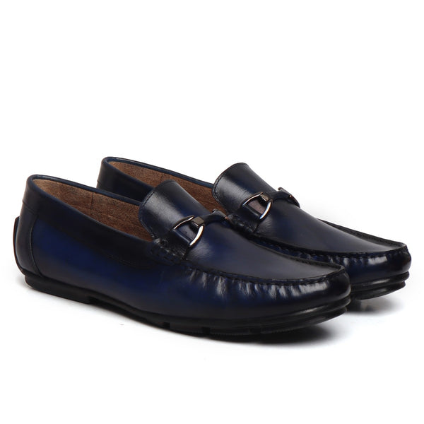 Blue Gunmetal Horsebit Leather Loafers by BRUNE & BARESKIN