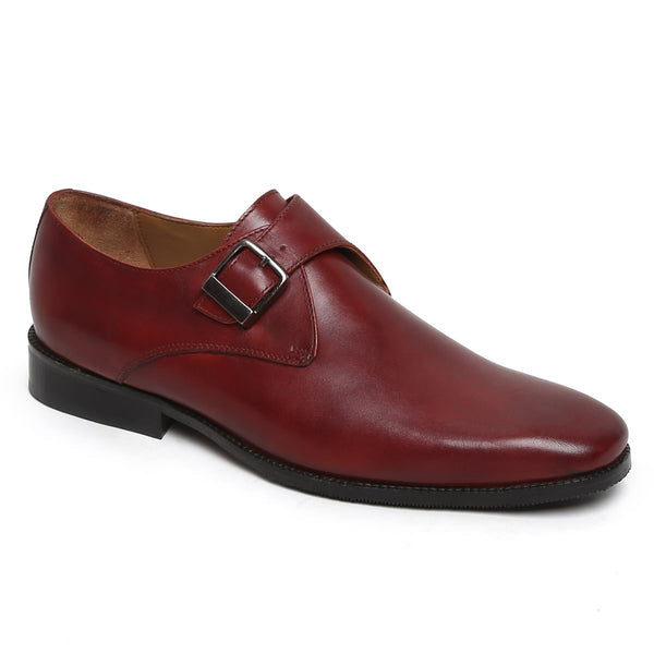 Wine Single Monk Derby Strap Wine Leather Shoe By Brune