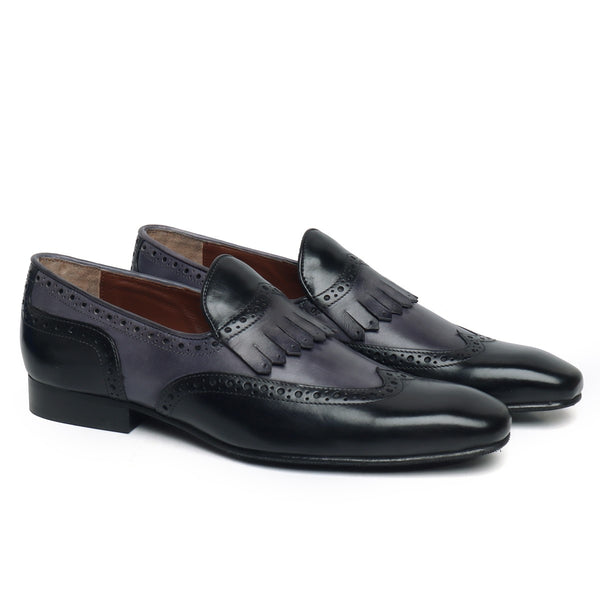 Black/Grey Wingtip Brogue Fringes Leather Slip On By Brune