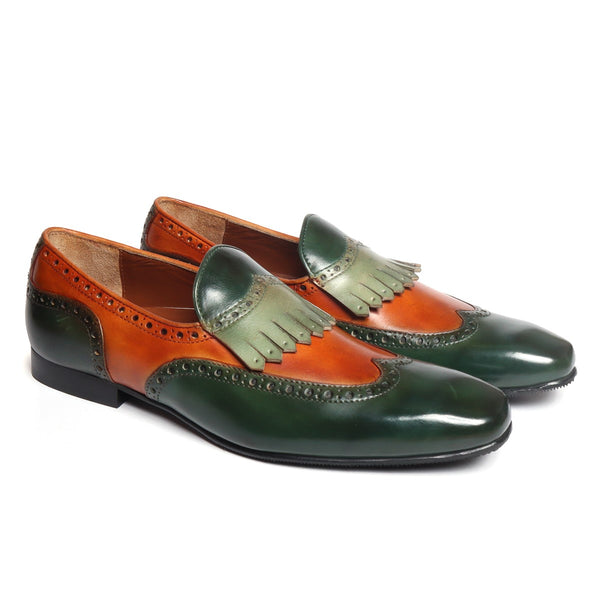 Green-Tan Dual Shade Leather Wingtip Brogue Fringes Slip On By Brune