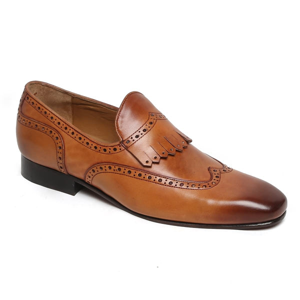 Tan Wingtip Brogue Fringes Leather Slip On By Brune