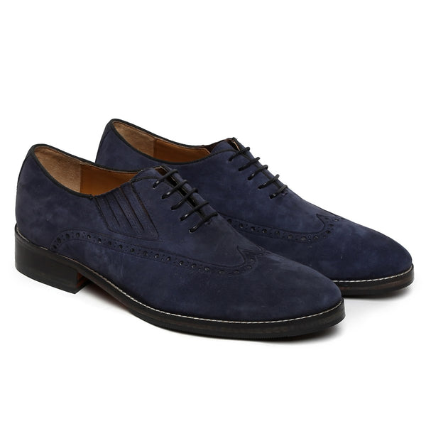 Blue Suede Leather Wingtip Side Elastic Oxford by BRUNE