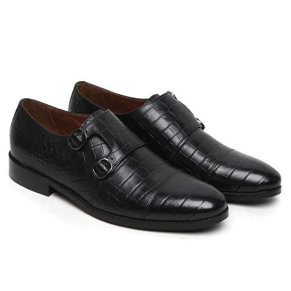 Black Croco Print Leather Double Monk Shoe By Brune