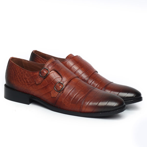 Tan Croco Print Leather Double Monk Shoe By Brune