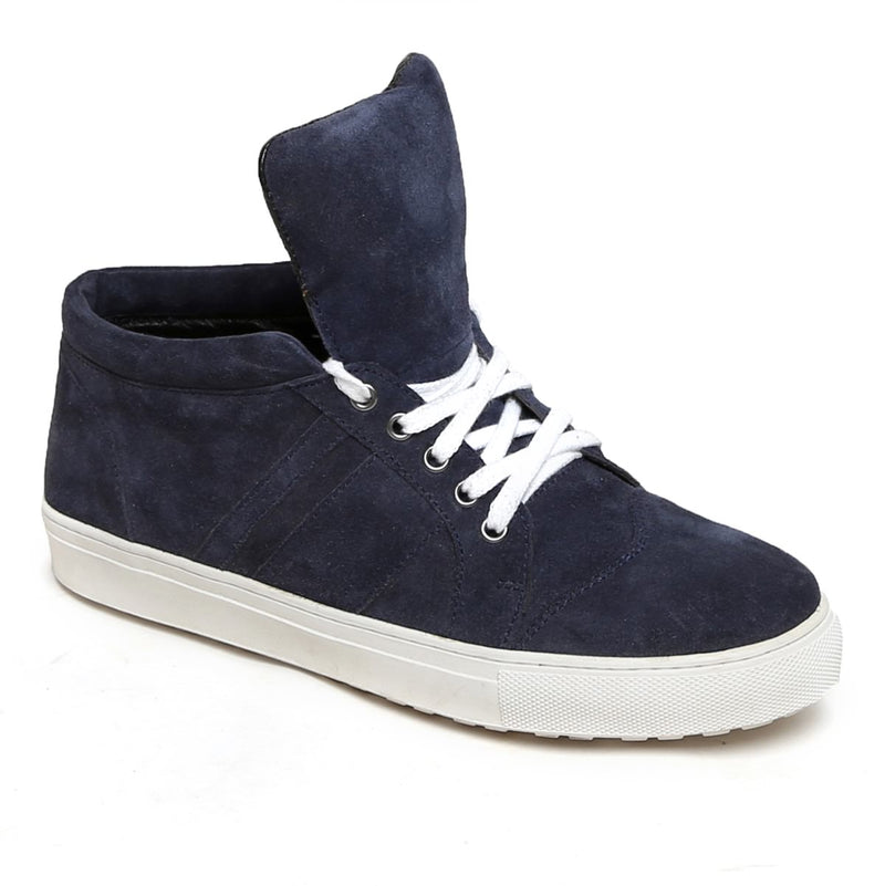 Blue Suede Leather Mid-Top Ankle Sneakers By Bareskin