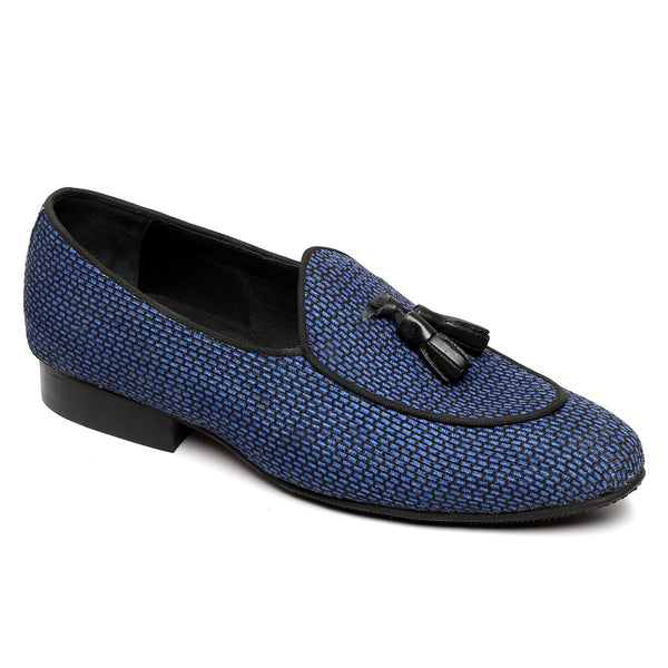 Blue Textured Apron Toe Tassel Slip On Shoes By Brune