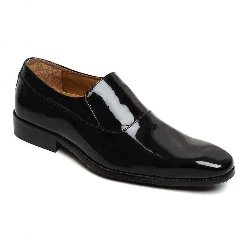 Black Long Vamp Patent Leather Slip-On Shoes By Brune