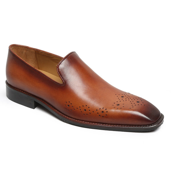 Tan Tribal Brogue Men Leather Slip-On By Brune