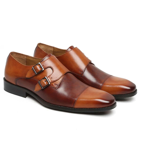 Tan Dual Shade Mod Double Monk Leather Shoe By Brune