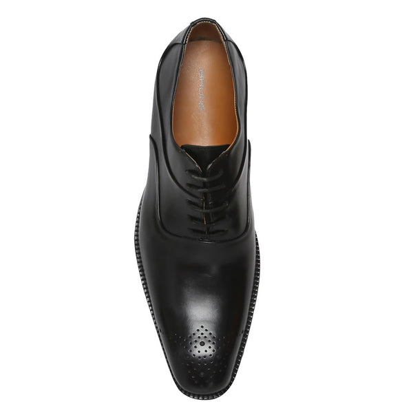 Black Layered Look Leather Oxford Men Brogue By Brune