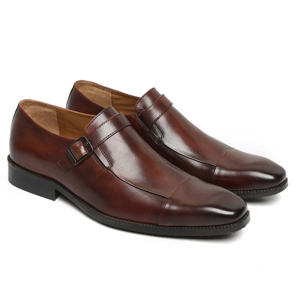 Dark Brown Long Vamp Monk Strap Leather Slip-On By Brune