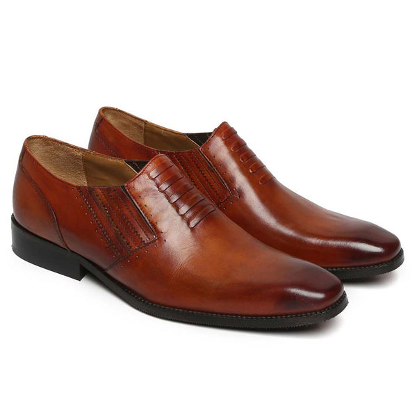 Tan Chic Look Men Leather Formal Shoes By Brune
