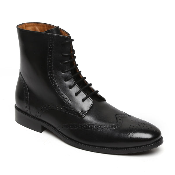Black Wingtip Brogue Formal Leather Boots By Brune