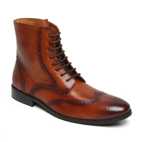 Tan Wingtip Brogue Formal Leather Boots By Brune