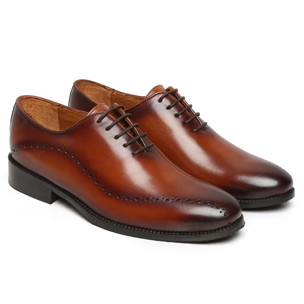 Tan Waved Broguing Leather Men Whole Cut Oxford By Brune