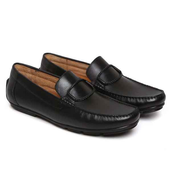Black Rope Loop Leather Loafers By Brune