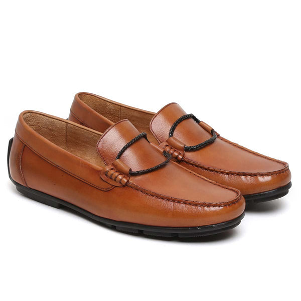 Tan Rope Loop Leather Loafers By Brune