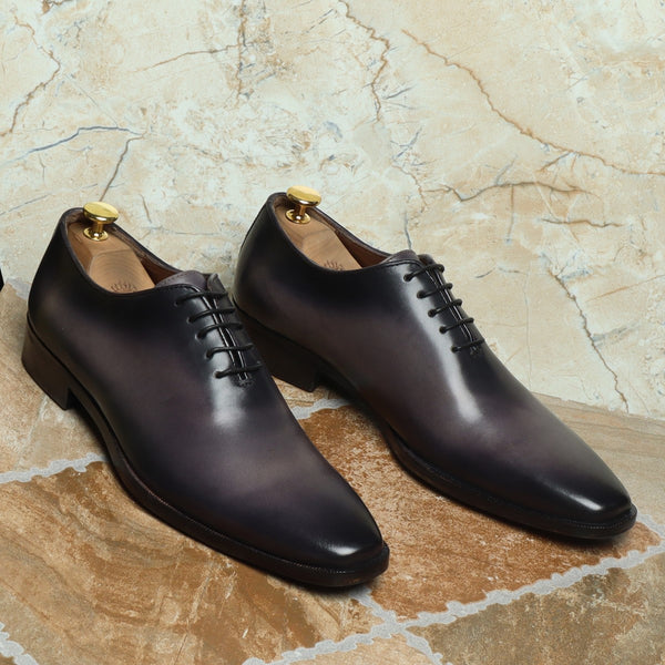 Grey Hand Painted Leather Handmade Whole Cut/One-Piece Oxford Shoes For Men By Brune