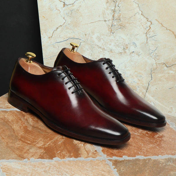 Wine Hand Painted Leather Handmade Whole Cut/One-Piece Oxford Shoes For Men By Brune
