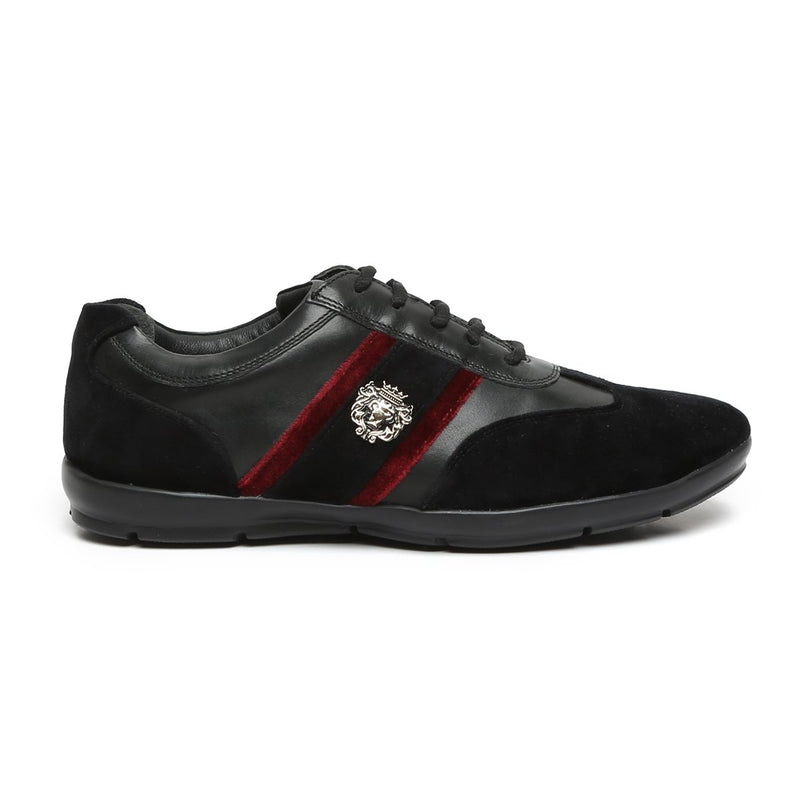 Black Leather With Red Velvet Stripes Silver Lion Metal Logo Sneakers By Bareskin