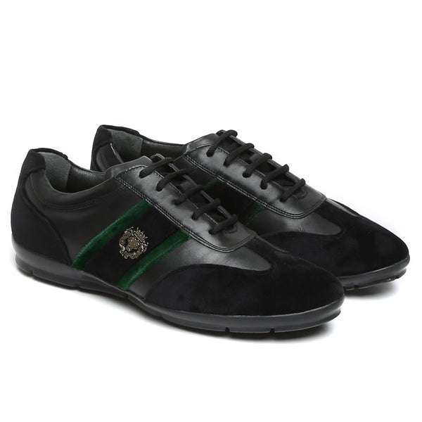 Black Leather With Green Velvet Stripes Silver Lion Metal Logo Sneakers By Bareskin