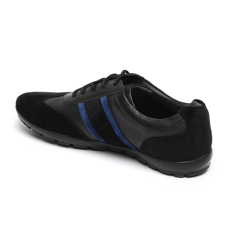 Black Leather With Blue Velvet Stripes Silver Lion Metal Logo Sneakers By Bareskin