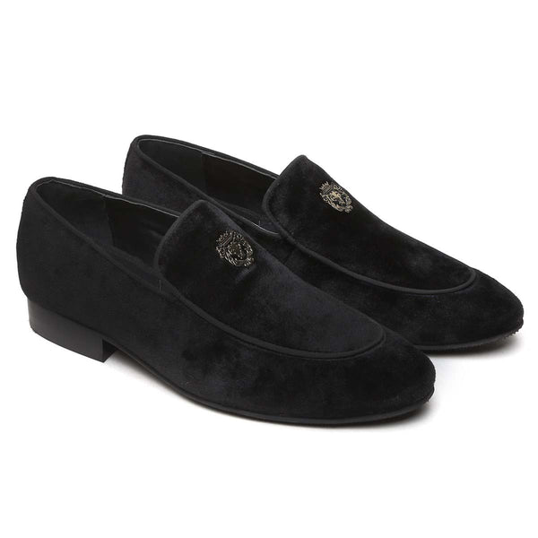 Black Velvet Metal Lion Men Slip On By Bareskin