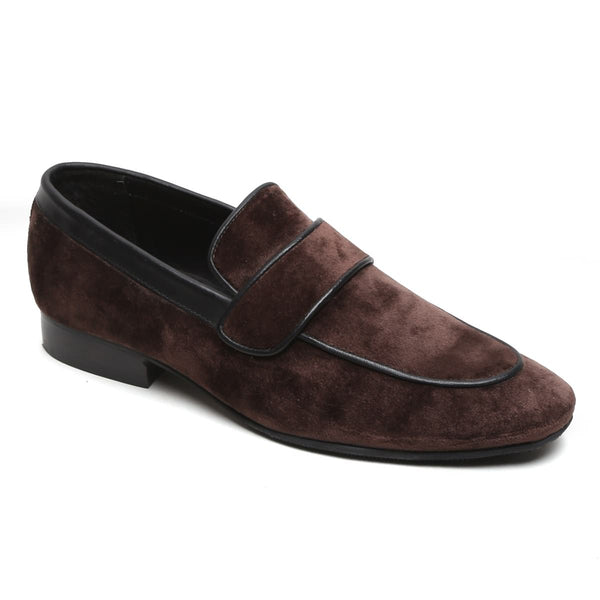 Brown Two Tone Velvet Penny Loafers By Bareskin