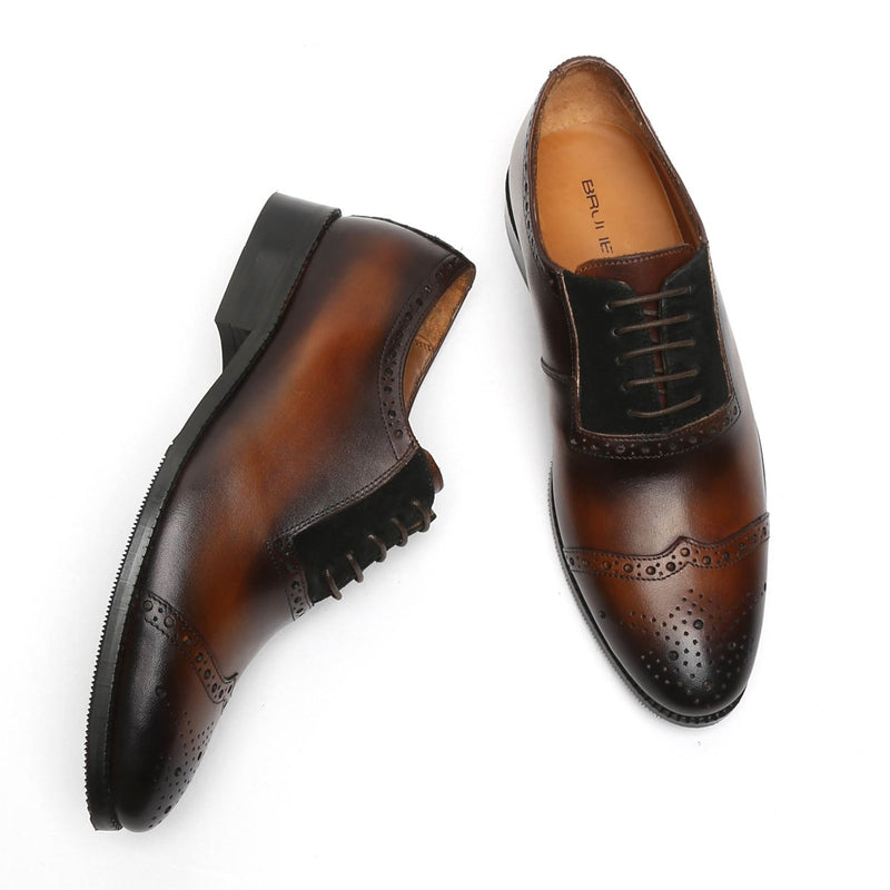 Brown Dark Burnished Wingtip Leather Oxford By Brune