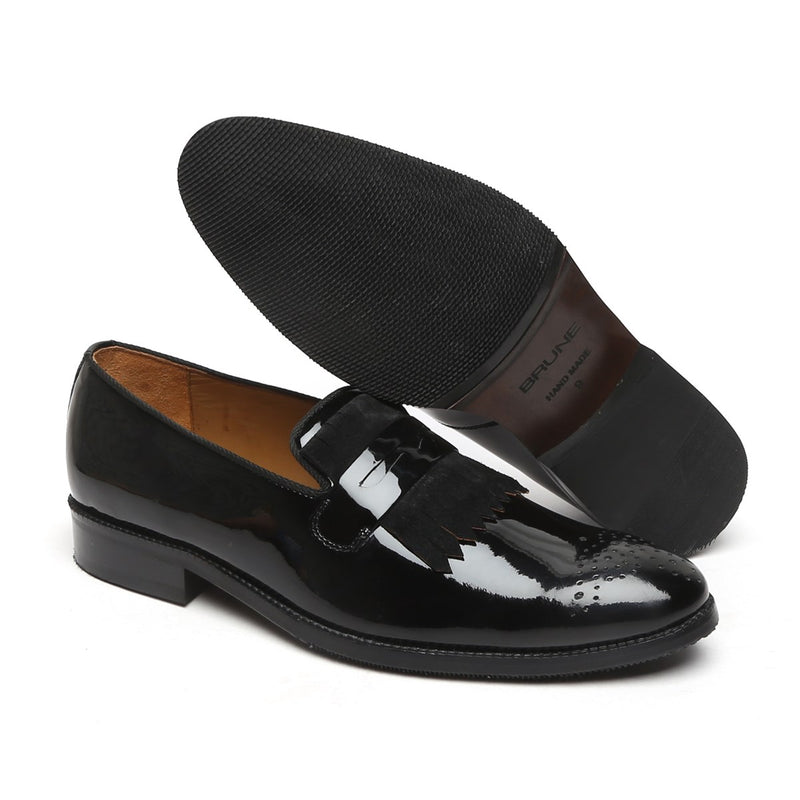 Black Patent Leather Suede Fringes Slip-On By Brune