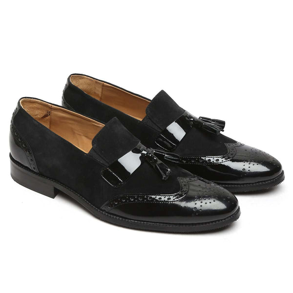 Black Patent Strip Tassel Medallion Toe Suede Leather Slip-On By Brune
