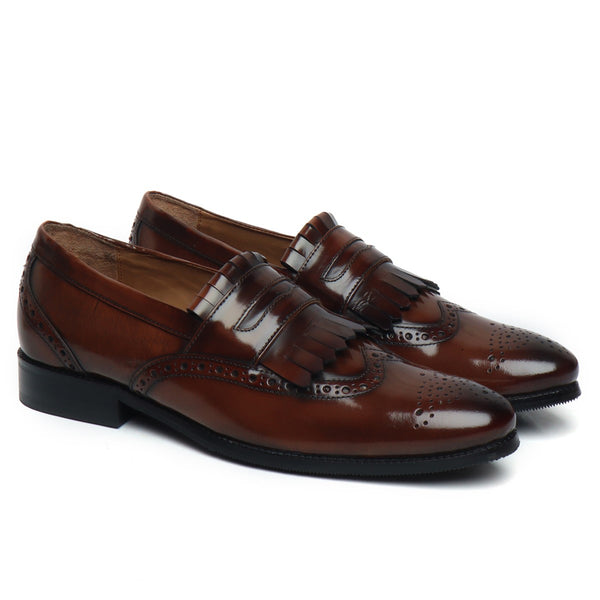 Brown Patent Leather Fringes Full Brogue Slip-On By Brune