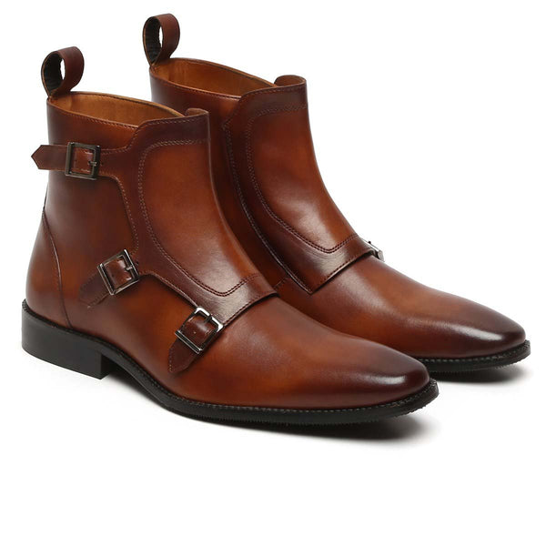 Triple Monk Dark Tan High Ankle Leather Boots By Brune