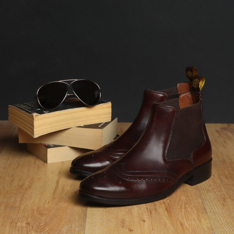 Brown Wingtip Quarter Brogue Leather Boots by BRUNE