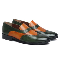 TAN GREEN LEATHER SASSY SLIP-ONS BY BRUNE