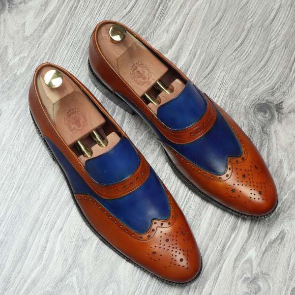 TAN BLUE LEATHER SASSY SLIP-ONS BY BRUNE