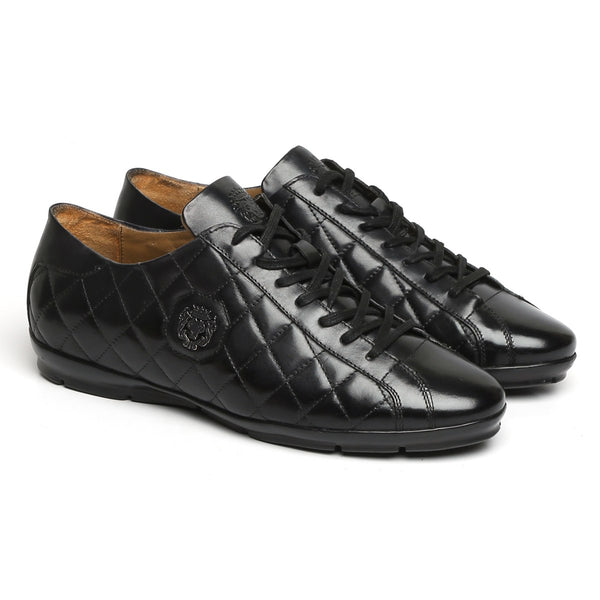 Black Diamond Stitched Metal Lion Leather Sneakers By Bareskin