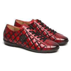 Wine Diamond Stitched Metal Lion Leather Sneakers By Bareskin