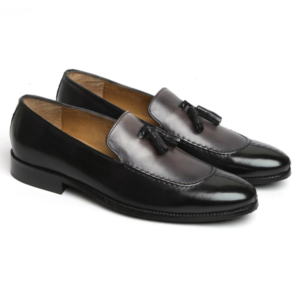 Black-Grey Dual Look Split Toe Leather Slip-On By Brune