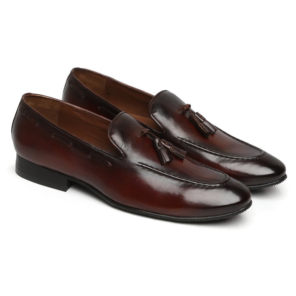 Dark Brown Genuine Leather Flat Side Lacing Tassel Loafers By Brune