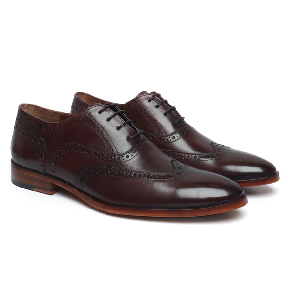BROWN FULL WINGTIP BROGUE LEATHER SOLE OXFORDS SHOE BY BRUNE