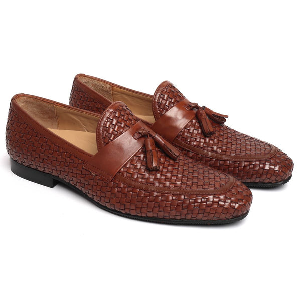 Brown Full Weaved Sleek Look Tassel Slip-On by BRUNE