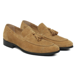 Beige Suede Leather Apron Toe Tassel Slip-ons by BRUNE