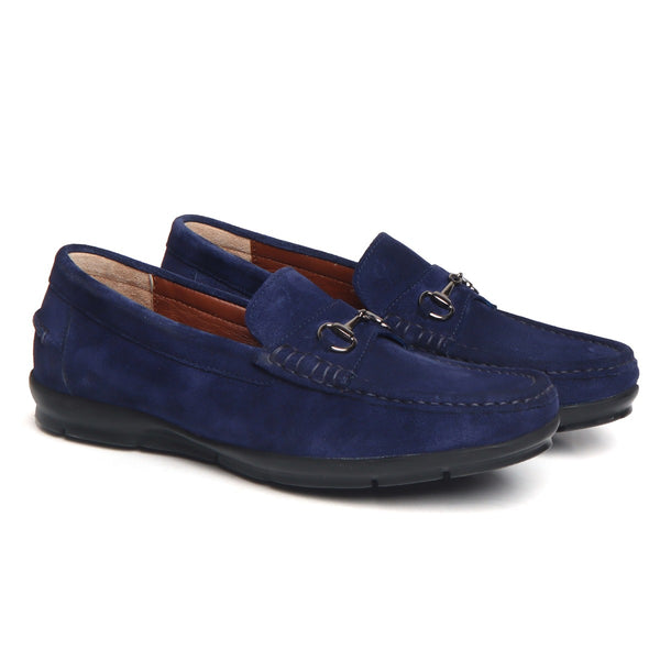 Blue Suede Leather Horsebit Loafers By Brune
