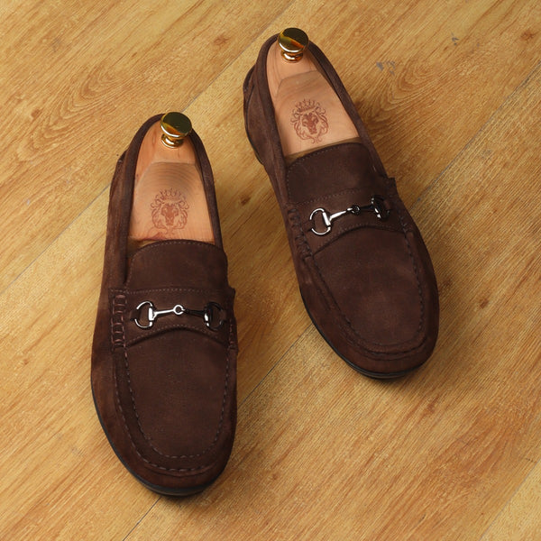 Brown Suede Leather Horsebit Loafers By Brune