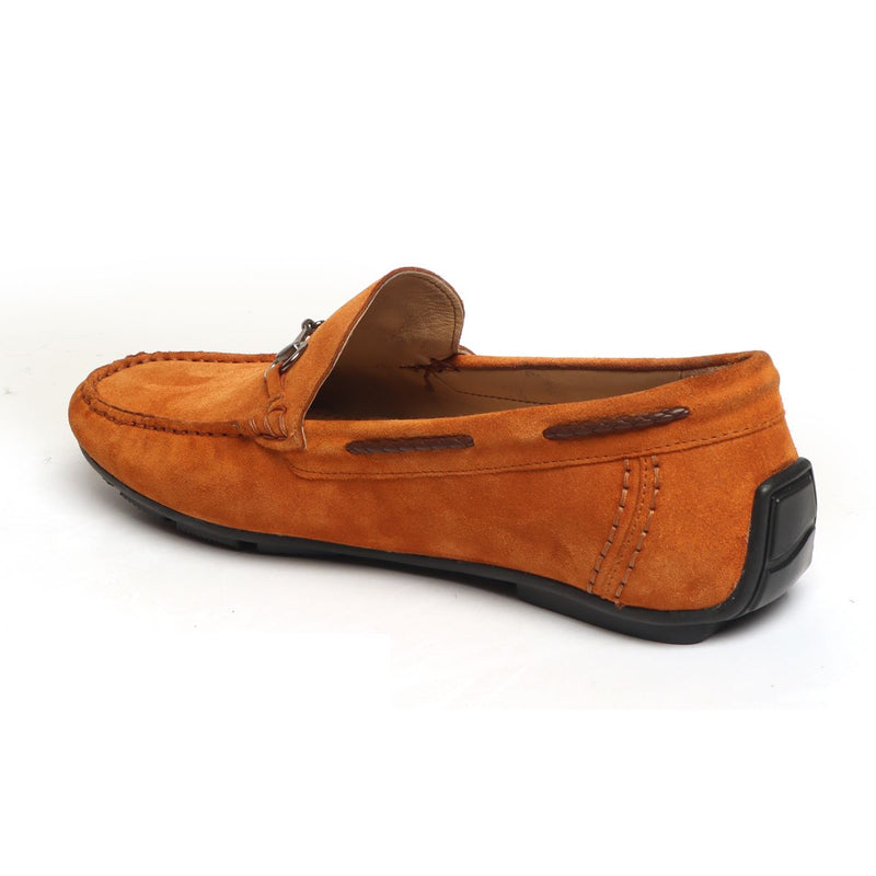 Orange Suede Leather Horsebit Loafers By Brune