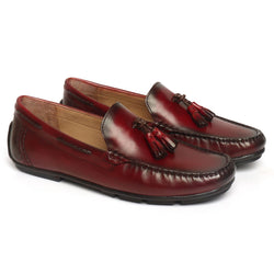 Wine Leather Tassel Moccasins By Brune