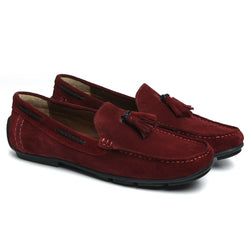 Red Suede Leather Tassel Moccasins By Brune
