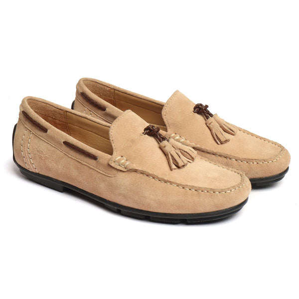Beige Suede Leather Tassel Moccasins By Brune