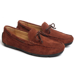 Brown Suede Leather Weaved Tassel Bow Loafers by BRUNE